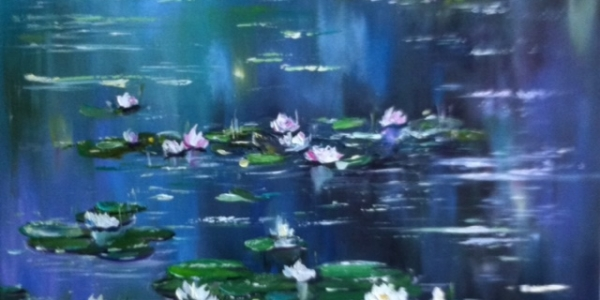 water-lillies-on-blue-pond